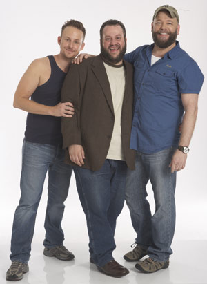 Film BEARCITY 2: THE PROPOSAL; director Doug Langway in the middle and actors Stephen Guarino (left) and Brian Keane (right)