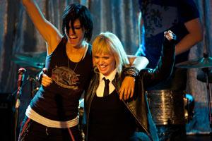 Filmstill GIRLTRASH: ALL NIGHT LONG, Lisa Rieffel und Michelle Lombardo feiern sich bei ihrem Konzert