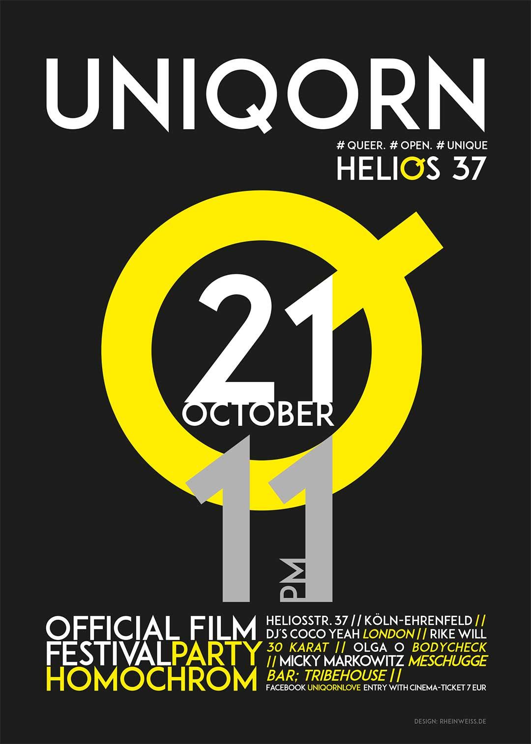UNIQORN ist die Festivalparty des 7. Filmfests homochrom am Samstag 21.10.2017 ab 23 Uhr im Helios37 in Köln-Ehrenfeld; ermäßigter Eintritt von nur 7€ (statt 10€) mit Eintrittskarten des Filmfest