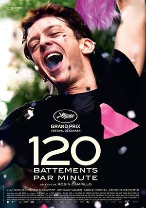 Film Poster 120 BPM / Beats Per Minute / 120 battements par minute von Robin Campillo mit Nahuel Pérez Biscayart, Arnaud Valois, Adèle Haenel; Grand Prix, Großer Preis der Internationalen Filmfestspiele von Cannes