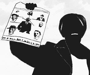 Film Still THE MAN-WOMAN CASE von Anaïs Caura; Animationsfilm inspiriert von der wahren Geschichte des Eugène Falleni; Mann hält Zeitung hoch
