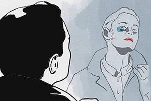 Film Still THE MAN-WOMAN CASE von Anaïs Caura; Animationsfilm inspiriert von der wahren Geschichte des Eugène Falleni; Person sieht sich im Spiegel