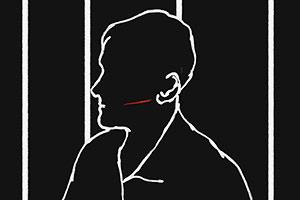 Film Still THE MAN-WOMAN CASE von Anaïs Caura; Animationsfilm inspiriert von der wahren Geschichte des Eugène Falleni; Person mit Schmiss sitzt hinter Gittern