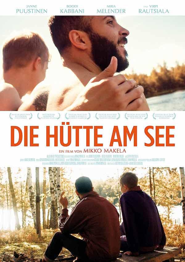 Film Poster DIE HÜTTE AM SEE – A MOMENT IN THE REEDS, eine schwule Romanze zwischen einem Finnen und einem syrischen Flüchtling von Filmemacher Mikko Makela mit  Janne Puustinen, Boodi Kabbani und Mika Melender