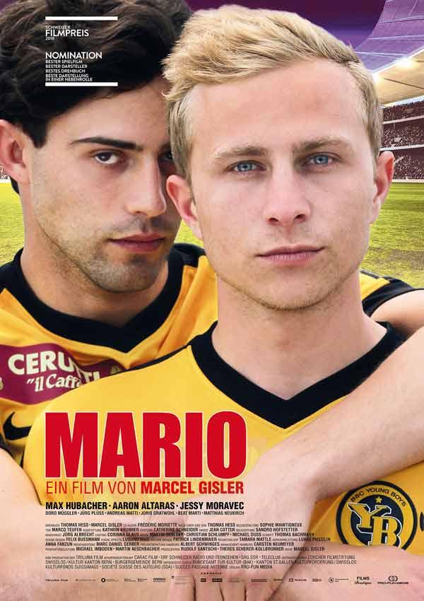 Film Poster MARIO von Regisseur und Autor Marcel Gisler über die geheime Liebe zweier Profi-Fußballer mit Max Hubacher, Aaron Altaras, Jessy Moravec; Gewinner von zwei Schweizer Filmpreisen