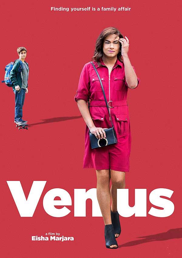 Film Poster der transsexuellen Dramödie VENUS von Autorin und Regisseurin Eisha Marjara, Kanada 2017, mit Debargo Sanyal, Jamie Mayers und Pierre-Yves Cardinal
