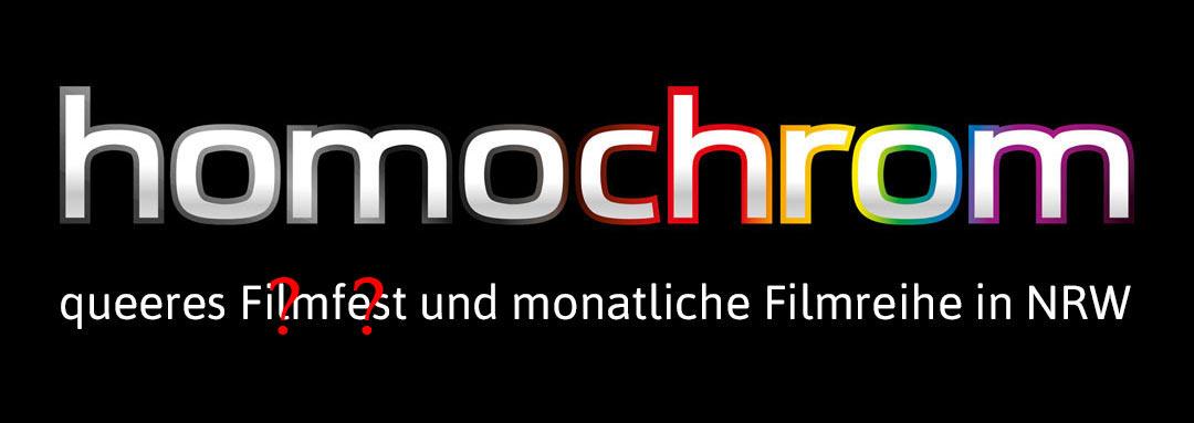 Logo Slider homochrom - monatliche Filmreihe und queeres Filmfest, aber mit Fragezeichen
