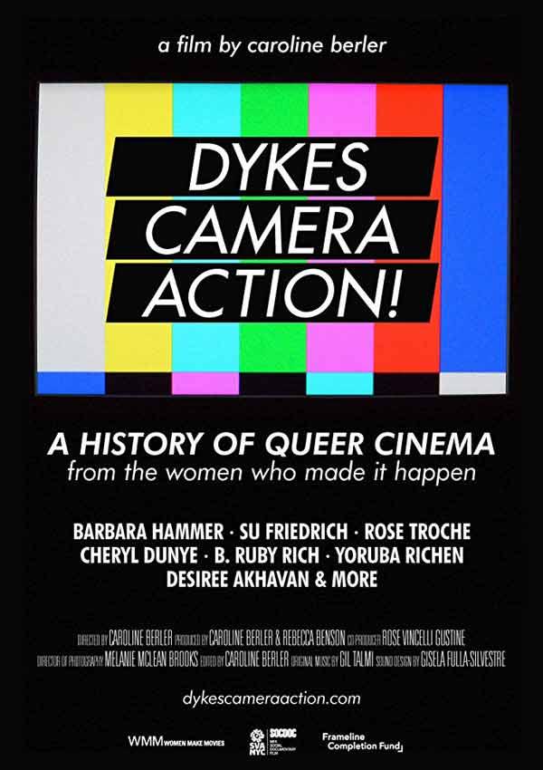 Film Poster der lesbischen Doku DYKES, CAMERA, ACTION! von Regisseurin, Produzentin und Editorin Caroline Berler aus USA, 2018