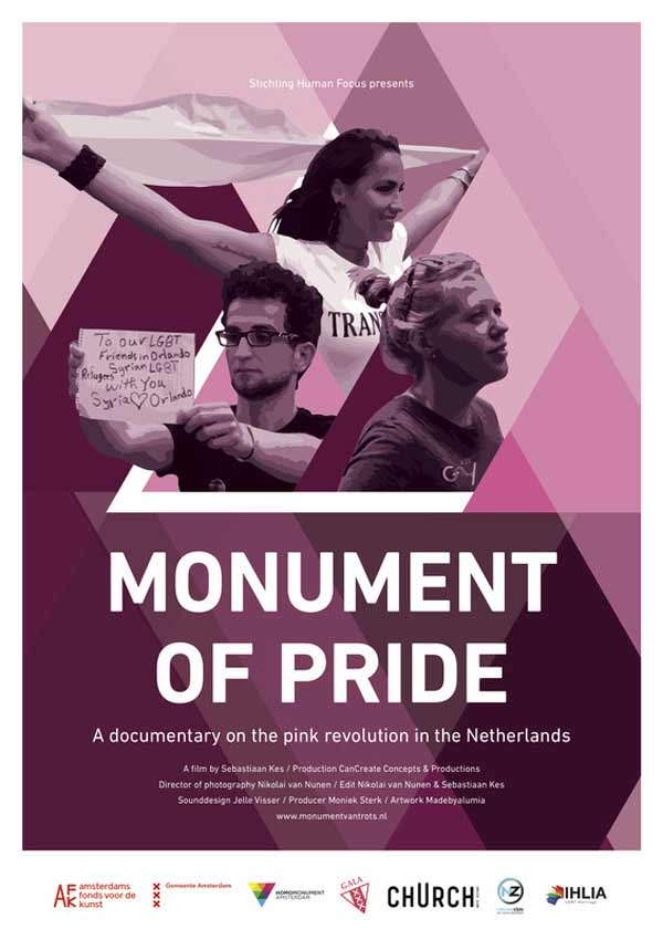 Film Poster MONUMENT OF PRIDE vom Regisseur, Autor und Produzent Sebastiaan Kes, NL 2017, über das Homo-Mahnmal in Amsterdam und holländische schwul-lesbische Geschichte
