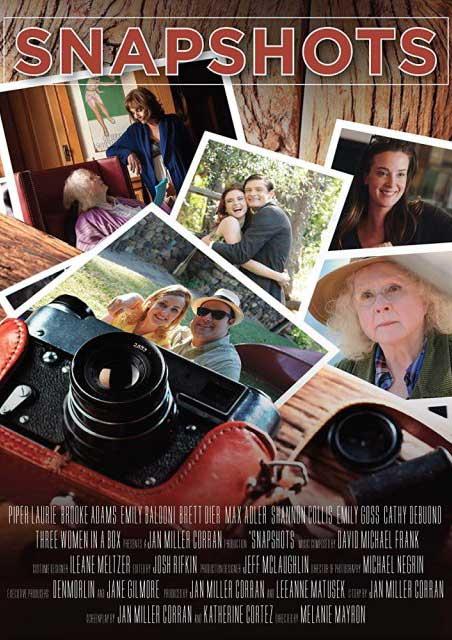 Film Poster SNAPSHOTS von Regisseurin Melanie Mayron, USA, 2018, mit Emily Baldoni, Brett Dier, Brooke Adams, Max Adler, Shannon Collis, Emily Goss, Cathy DeBuono und Piper Laurie