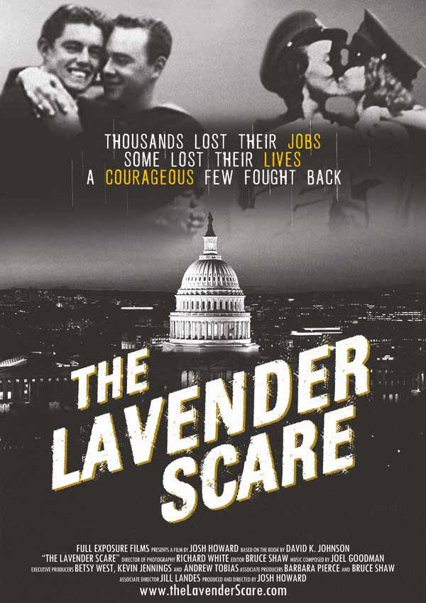 Film Poster THE LAVENDER SCARE von Debüt-Regisseur Josh Howard aus USA, 2017, über Eisenhowers Hexenjagd auf homosexuelle US-Regierungsmitarbeiter, erzählt von Glenn Close