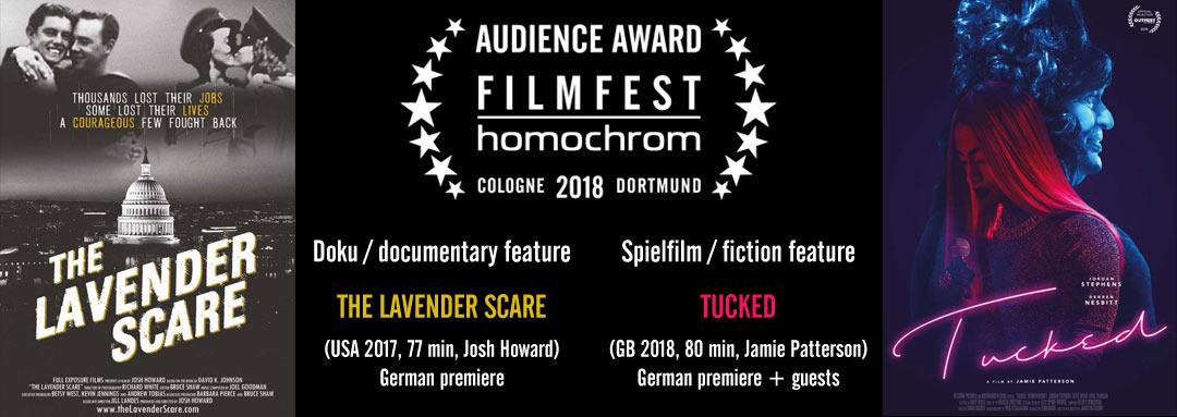"""Slider Publikumspreis """"Chromie"""" für TUCKED und THE LAVENDER SCARE beim 8. Filmfest homochrom in Köln und Dortmund, audience award 2018"""