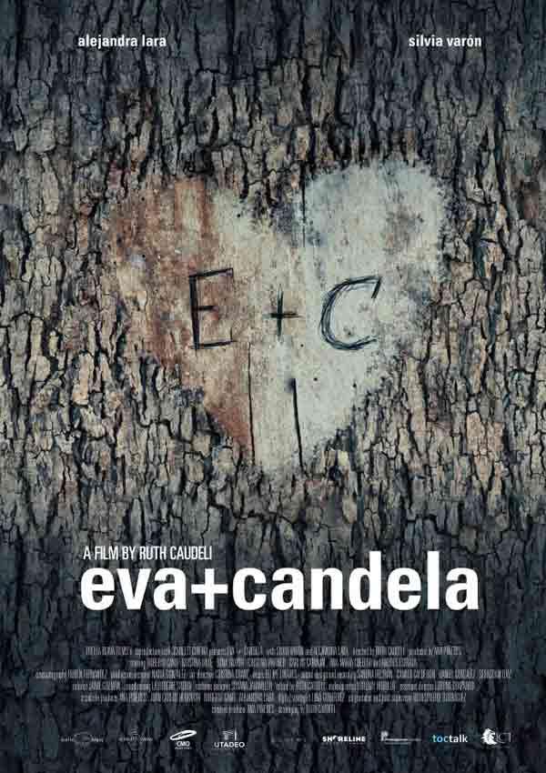 alternatives Film Poster EVA + CANDELA von Autorin, Regisseurin und ausführender Produzentin Ruth Caudeli aus Kolumbien, 2018; E+C umgeben von einem Herzen in einen Baum geritzt