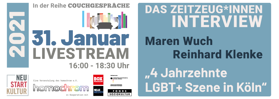 Couchgespräche Januar 2021 - 4 Jahrzehnte LGBT+-Szene in Köln